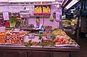 Fruit and vegetables, La Boqueria Market, Ciudad Vieja, Barcelona, Catalonia, Spain