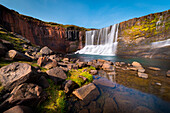Laugarfell waterfall, Icelandic highlands, Eastern Iceland, Mount Snaefell, Iceland