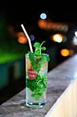 Mojito drink with mint leaves and Havana Club rum, Trinidad, Cuba