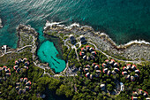 Aerial view of Riviera Maya resort and coastline, Quintana Roo, Mexico