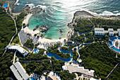 Aerial view of Riviera Maya beach and tourist resort, Quintana Roo, Mexico