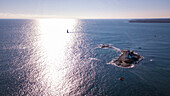 Aerial view scenery of Wood Island and Whaleback Island lighthouse in Newcastle, New Hampshire, USA