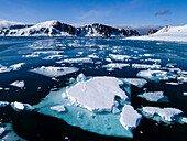 Beautiful natural Arctic scenery with pack ice drifting in Arctic Ocean, Spitsbergen, Svalbard and Jan Mayen, Norway