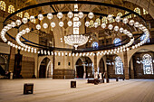 chandelier and prayer room in the al fateh grand mosque, the biggest mosque in bahrein, manama, kingdom of bahrain, persian gulf, middle east