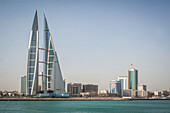 the twin towers of the bahrain world trade center, manama, kingdom of bahrain, persian gulf, middle east