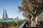 view of the skyline of manama with the twin towers of the bahrain world trade center seen from the terrace of the luxury hotel four seasons bahrain bay, manama, kingdom of bahrain, persian gulf, middle east