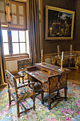 period desk, chateau de vaux-le-vicomte from the 17th century, near melun, built by the superintendent of finances to louis xiv, tourist excursion in the parisian suburbs, 50 km, original owner: nicolas fouquet, tree-filled park, maincy, 77950, france