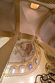 ceiling and frescoes of the christ in majesty beneath the choir's vault, sacre coeur basilica and cloister, paray-le-monial (71), france
