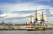 France, South-Western France, Bordeaux, l'Hermione (replica ship of a Concorde class frigate of the French Navy) in front of the Place de la Bourse