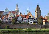 Germany, Baden-Württemberg, Ulm, skyline, Danube River, people