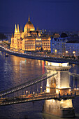 Hungary, Budapest, Parliament, Chain Bridge, Danube River