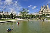 France, Paris, Tuileries Garden, pond