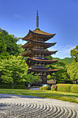 Japan, Yaamaguchi City, Kozan-Koen Park, Pagoda at Kuriku-Ji