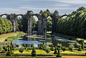 France, Centre Val de Loire, Eure et Loir, aqueduct bridge and gardens of the Chateau de Maintenon