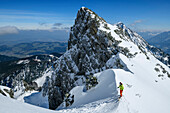 Woman backcountry-skiing looking into steep snow-gully, Zwiesel, Chiemgau Alps, Chiemgau, Upper Bavaria, Bavaria, Germany