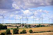 Landscape with Windmills near Jena, Thuringia, Eastgermany, Germany