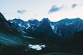 Mountain panorama after sunset, E5, Alpenüberquerung, 2nd stage, Lechtal, Kemptner Hütte  to Memminger Hütte, tyrol, austria, Alps