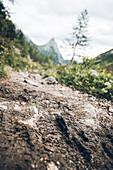 Hiking trail with shoe print and summit of the Silberspitze in the background, E5, Alpenüberquerung, 3rd stage, Seescharte,Inntal, Memminger Hütte to  Unterloch Alm, tyrol, austria, Alps