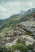Hiking group on the ascent in the massif, E5, Alpenüberquerung, 4th stage, Skihütte Zams,Pitztal,Lacheralm, Wenns, Gletscherstube, Zams to  Braunschweiger Hütte, tyrol, austria, Alps
