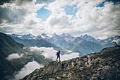 Mountaineer climbing the Pitztal, E5, Alpenüberquerung, 4th stage, Skihütte Zams,Pitztal,Lacheralm, Wenns, Gletscherstube, Zams to  Braunschweiger Hütte, tyrol, austria, Alps