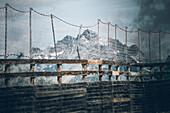 Fence in the Sölden ski area with mountain massif in the background, 5th stage, Braunschweiger Hütte,Ötztal, Rettenbachferner, Tiefenbachferner, Panoramaweg to Vent, tyrol, austria, Alps
