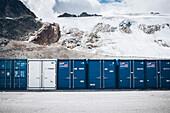 Container in front of Sölden glacier, 5th stage, Braunschweiger Hütte,Ötztal, Rettenbachferner, Tiefenbachferner, Panoramaweg to Vent, tyrol, austria, Alps