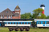 Island railway station and old lighthouse, Wangerooge, East Frisia, Lower Saxony, Germany