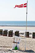 Danish flag on the beach, Wangerooge, East Frisia, Lower Saxony, Germany