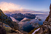 view of Reine and the Reine fjord during midnightsun, Lofoten Islands, Norway
