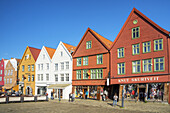 Historic wooden houses in the hanseatic quater Bryggen, old town of Bergen, Hordaland, Southern norway, Norway, Scandinavia, Northern Europe, Europe
