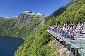 View from viewpoint Ørnesvingen  over fjord Geirangerfjord, Geiranger, More and Romsdal, Fjord norway, Southern norway, Norway, Scandinavia, Northern Europe, Europe