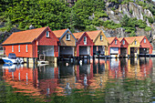Fishing huts in the harbour of Furuholmen, Skagerak, Northern Sea, Vest-Agder, Sorlandet, Southern Norway, Norway, Scandinavia, Northern Europe, Europe