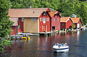 Boat hut in Feda by the fjord Fedafjord, Vest-Agder, Sorlandet, Southern Norway, Norway, Scandinavia, Northern Europe, Europe