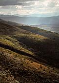 view at surrounding Andean Mountain range at colonial town Villa de Leyva, Departamento Boyacá, Colombia, South America