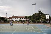sports field being transferred into a catwalk by young locals at Villa de Leyva, Departamento Boyacá, Colombia, South America