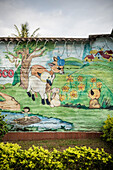 Kindergarten with Bambi and barbed wire, Medellin, Departmento Antioquia, Colombia, Southamerica