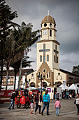 view towards church during local festival in Salento, UNESCO World Heritage Coffee Triangle, Departmento Quindio, Colombia, Southamerica