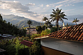 view across red tiled roofs at Salento, UNESCO World Heritage Coffee Triangle, Departmento Quindio, Colombia, Southamerica