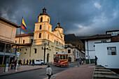 touristic ride in front of Iglesia de la Candelaria church, capital Bogota, Departmento Cundinamarca, Colombia, Southamerica