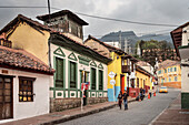 colonial houses and view towards Monserate, capital Bogota, Departmento Cundinamarca, Colombia, Southamerica