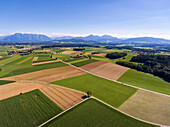 Bird's eye view over fields in the village of Saaldorf-Surheim in the Berchtesgadener Land, hills and mountains in the background