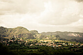 View over the City, Vinales, Pinar del Rio, Cuba, Caribbean, Latin America, America