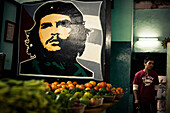 Portrait of Ernesto Che Guevara, painting in market hall, old town, Havana, Cuba, Caribbean, Latin America, America