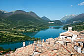 View from Barrea over the Lago di Barrea an the fringe of the Abruzzi National Park