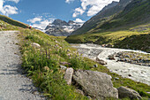 Valley Ochsental, Glacier Ochsentaler Gletscher, Mt. Piz Buin, River Ill, Bludenz, Vorarlberg, Austria, Europe