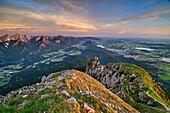 Tannheim Mountains, Fuessen, lake Weissensee and lake Hopfensee, from Saeuling, Ammergau Alps, Upper Bavaria, Bavaria, Germany