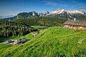Several alpine huts with Birnhorn in Leogang Mountains, Kallbrunnalm, Berchtesgaden Alps, Salzburg, Austria