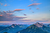 Mood of clouds above Rofan range and Mangfall Mountains, from Trainsjoch, Mangfall Mountains, Bavarian Alps, Upper Bavaria, Bavaria, Germany