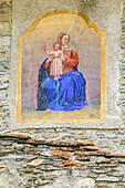 Fresco of Holy Mary at house, Elva, Val Maira, Cottian Alps, Piedmont, Italy