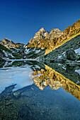 Monviso reflecting in mountain lake, Monte Viso, Monviso, valley valle di Po, Cottian Alps, Piedmont, Italy